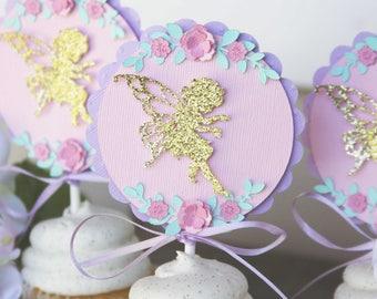 fairy cupcake toppers, fairy cupcake picks, fairy cupcake decoration, fairy cupcake decor, garden party cupcake decor, garden party decor