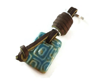Small Keychain Blue and Brown Leather Wrap, Brown and Blue Keychain Porcelain Rectangle Drop, New House or Car Gift For Women or Men