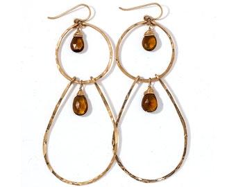 Beer Quartz Double Drop Hoops - Long Hammered Gold Earrings - Double Layer Hoops - Beer Quartz Earrings