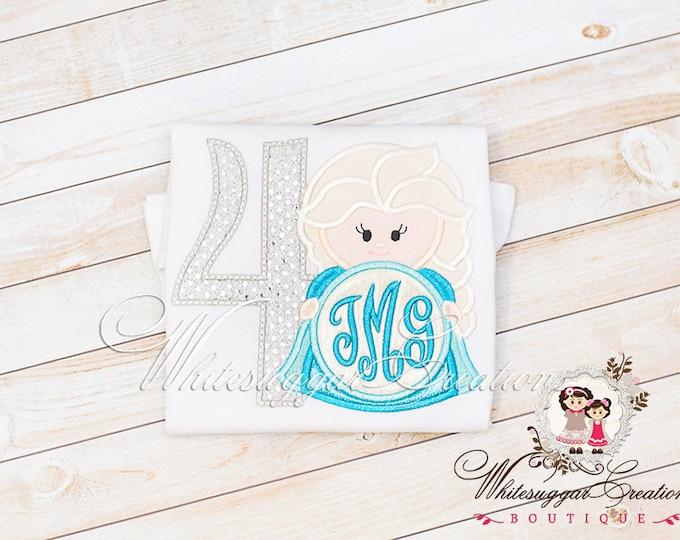 Girl Birthday Outfit - Elsa Inspired Birthday Shirt - Custom Monogrammed Shirt - Baby Girl Birthday Princess Outfit