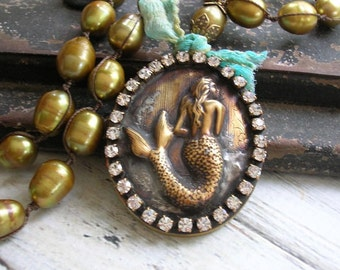 Mermaid necklace locket pendant - Memories - artisan boho jewelry, knotted pearl necklace vintage brass, freshwater pearls, nautical jewelry