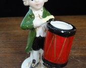 "Vintage American Colonial Drummer Boy Figurine Toothpick Holder, Hand Painted Japan Ceramic Figurine, Collectable Knick Knack, 4.25"" High"