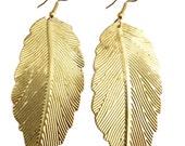 Gold Earrings,feather Earrings,leaf earrings,gold chandelier earrings,Exclusive by TANEESI