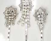Art Deco Clear Rhinestone Bridal Hair Clips, Vintage Flapper Jeweled Silver Dangle 1920s Accessories Bobby Pin Set  3 OOAK Bridesmaids Gifts