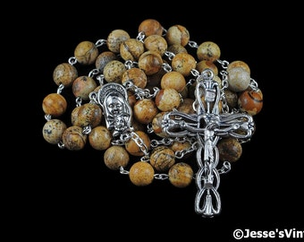 Catholic Rosary Beads Brown Beige Tan Picture Jasper Natural Stone Traditional Silver Five Decade Catholic Gift