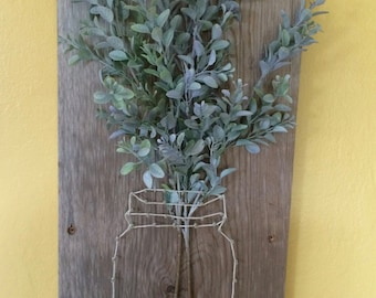 Mason Jar String Art Nail Art Flower Plaque Blue Floral Rustic