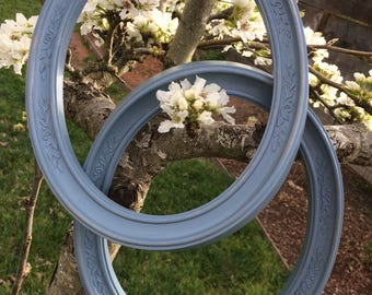Vintage Homco Oval Frames Blue Wildflower 8x10