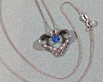 Vintage Avon Sterling Silver Necklace Heart Pendant Sapphire Blue Glass Rhinestone on 19 Inch Chain Stylized Filigree Heart Feminine Lovely