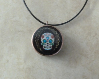 Copper Pipe/Tube Sugar Skull Pendant