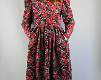 Laura Ashley Dress, Floral Dress, Vintage 80s, Long Sleeve, Boho, Corduroy, Red, Roses, Victorian, Prairie, Size Medium, FREE SHIPPING