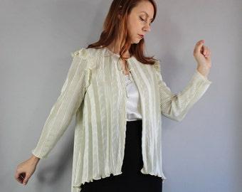 Vintage 80s 1980s Women's Mary Mcfadden Saks Fifth Avenue Designer Rare Cream Fortuny Style Pleated Art Nouveau Blouse