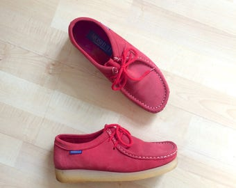 Vintage 1990s red nubuck leather MOSHULU wallabees / beight red comfortable lace-up rubber sole shoes - 6-6.5 UK size