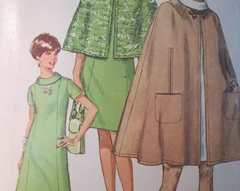 Simplicity 7544 Vintage 1960's Short or Long Cape Pattern and Roll Collar Princess Seam Dress Pattern - Mod 60's Cape Pattern Sz 14 Bust 36