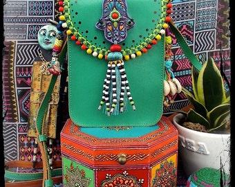HAMSA Hand LEATHER bag GREEN Turquoise Crossbody Purse Ibiza Boho Summer Artisan Embellished Bag Beaded Tassel painted leather purse GPyoga