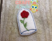 Beauty's Rose Feltie/Stitchie for the Snap Barrette Covers, Alligator Clip Covers, or Badge Reels!
