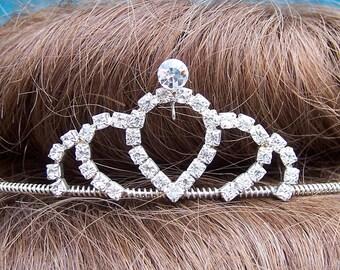 Vintage rhinestone tiara prom pageant wedding bridal headdress 1980s fashion headpiece (AAA)