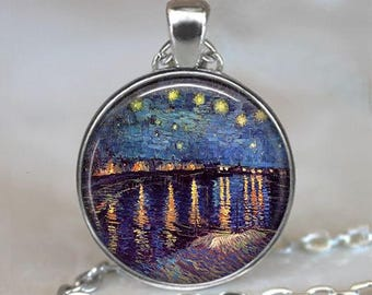 Starry Night over the Rhone necklace, Van Gogh necklace, Van Gogh art jewelry, night sky pendant, Starry Night pendant keychain key chain