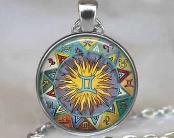 Bohemian Gemini necklace, Boho Gemini pendant Gemini jewelry Zodiac jewelry Zodiac necklace Gemini birthday gift astrology key chain