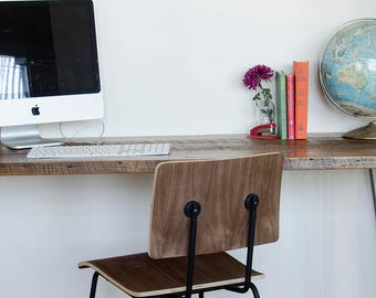 Mid Century Harvest Wood Desk with hairpin legs in pic one.  You choose leg style and from 6 wood finishes.