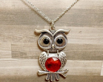 Rhinestone Owl Necklace - Red Owl Necklace - Cute Owl Pendant