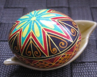 Ukrainian gift Turquoise and Orange star Ukrainian Easter egg pysanka egg shell ornaments with first star of the night