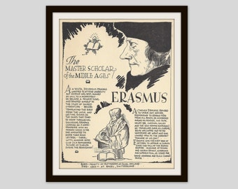 Erasmus, Vintage Art Print, Classroom Art, Teacher Gift, Religious History, Religion, Middle Ages, Reformation, Theology, Catholicism