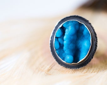 Hemimorphite Blue Drusy Ring, Sterling Silver Cocktail Ring - Collector Stone - Cloths of Heaven - Size 8, Size 8.25