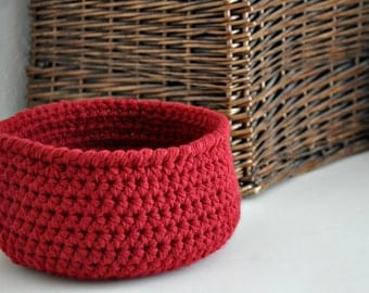Small Red Basket  Catchall Storage Bin Modern Decor Contemporary Design Home Decor