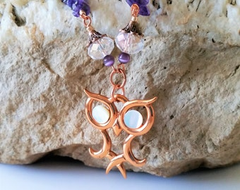 Amethyst and Copper Owl Necklace