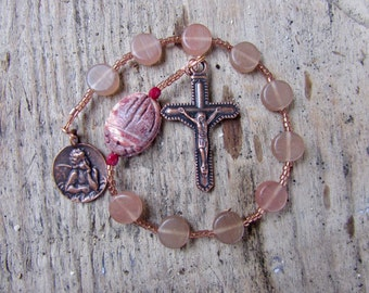 Pocket Rosary from glass and Leopard Jasper: catholic, copper