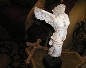 Vintage Religious Salvaged Headless,Winged Detailed Angel Statue w/stand.Very Nice Art Sculpture.