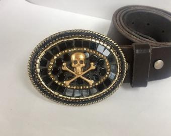 Skull Belt Buckle, Biker Accessories, Handmade Belts for Women, Gift for Rocker, Gift for Biker, Leather Belts, Large Brass Buckles, Camilla