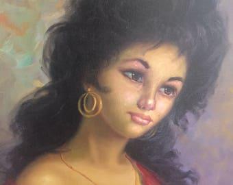 GYPSY WOMAN OIL Painting, Original Oil, Voluputuous Spanish Lady, Gypsy, Antique Spanish Mediterranean Home Decor Art at Modern Logic