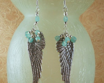 Christian Cowgirl Earrings - Antiqued Silver Angel Wings with Czech Crystal and Sterling Silver Earwires