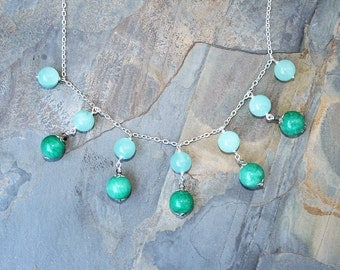 Turquoise Statement Necklace, Jade Necklace, Stone Necklace, Aqua Necklace, Multicolor Necklace, Holiday Necklace, Holiday Jewelry, For Her