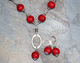 Red Jewelry Set, Jade Jewelry Set, Red and Black Jewelry Set, Stone Jewelry Set, Handmade Jewelry,Christmas Jewelry Set, Holiday Jewelry Set