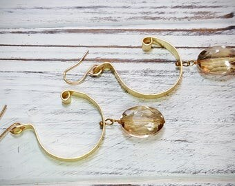 Hammered Wire Earrings - Gold + Gold