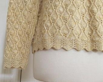 Vintage Metallic Glitter Sweater Cardigan, Gold & Cream Crochet Knit with Scalloped Edge, Small to Medium
