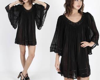 Mexican Dress Boho Dress Hippie Dress Gauze Dress Black Dress Vintage 80s Dress Floral Crochet Lace Black Gauze Angel Sleeve Mini Dress