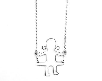 Girl on a Swing Necklace, Swinging Girl Necklace