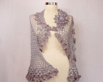 Wedding Bolero, Bridal Shrug,  Crochet Shrug, Wedding Jacket, Crochet Bolero, Bridal Lace Bolero, Purple Wedding Shrug, Flower Shrug, Cape