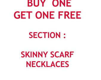 Buy one get one free Skinny scarf necklace crochet chain scarf summer scarf loop scarf