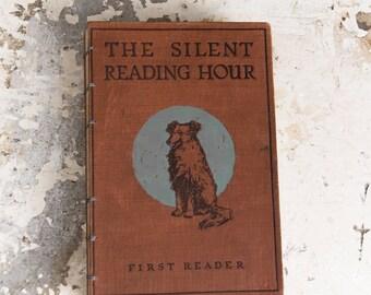 1925 SILENT READING Vintage Grid Lined Notebook Journal