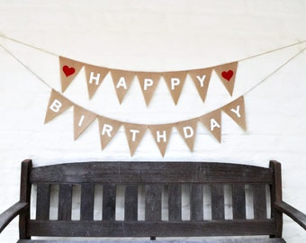 HAPPY BIRTHDAY Hessian Banner Burlap Celebration Party Banner Bunting Decoration photo prop