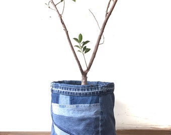 """Denim Container / Plant Cover - LARGE SIZE 12"""" pot planter bin cover recycled"""