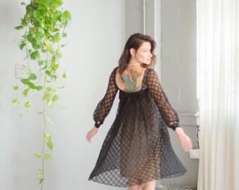 Vintage 1960's Nude Illusion Babydoll Dress
