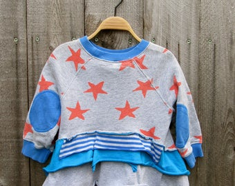 Girls Top Shirt Sweatshirt Redesigned Recycled Clothing Recycled Clothes 18-24 Month 2 Years Sweatshirt Striped Blue Grey
