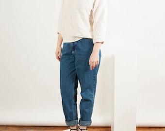 Cream Long Sleeve Jumper / Textured Oversized Sweater / Crew Neck Jumper