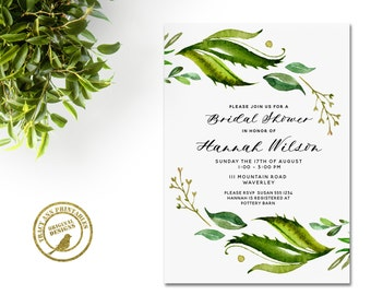 Leafy Bridal Shower Invitation | Elegant Watercolor Leaves Wedding Shower invite  | Printable Bridal Shower | Green | Invitation 2581