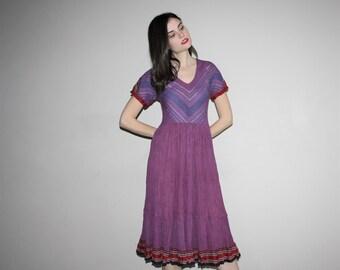 1990s Boho Purple Indian Cotton Hippie Festival Dress   - Indian Cotton Dress - Vintage Boho Dress - W00425